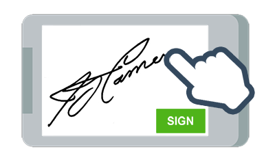 A hand signing a contract on a mobile with touch screen